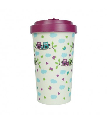 Kubek z bambusa, 500 ml, OWLS purple, WoodWay