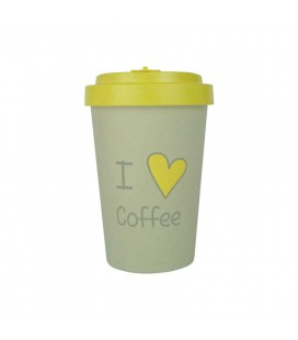 Kubek z bambusa, 400 ml, I LOVE COFFEE yellow, WoodWay