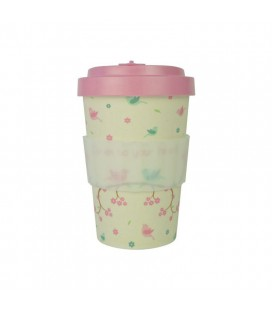 Kubek z bambusa, 400 ml, BIRDIES pink, WoodWay