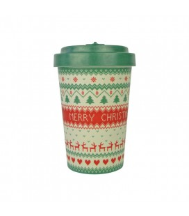 Kubek z bambusa, 400 ml, MERRY CHRISTMAS green, WoodWay